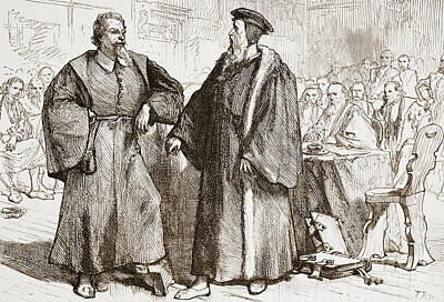 French Leaders Drawing - Calvin And Servetus Before The Council Of Geneva by English School