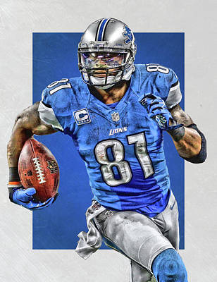 Calvin Painting - Calvin Johnson Detroit Lions Art by Joe Hamilton