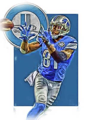 Mixed Media - Calvin Johnson Detroit Lions Oil Art 2 by Joe Hamilton