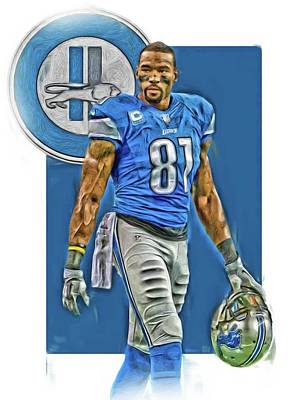 Mixed Media - Calvin Johnson Detroit Lions Oil Art by Joe Hamilton