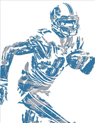Mixed Media - Calvin Johnson Detroit Lions Pixel Art 5 by Joe Hamilton