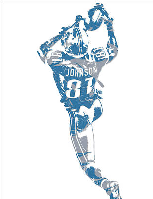 Mixed Media - Calvin Johnson Detroit Lions Pixel Art 6 by Joe Hamilton