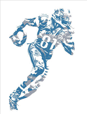 Mixed Media - Calvin Johnson Detroit Lions Pixel Art 7 by Joe Hamilton