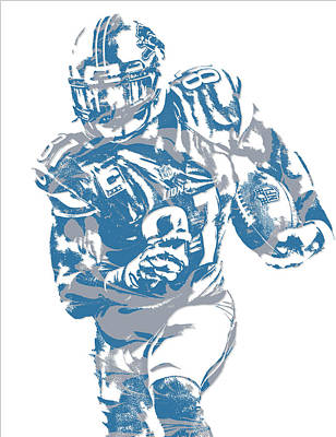 Mixed Media - Calvin Johnson Detroit Lions Pixel Art 8 by Joe Hamilton