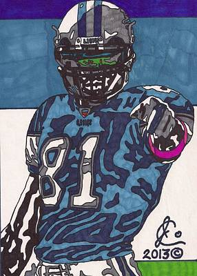 Detroit Lions Drawing - Calvin Johnson Jr 4 by Jeremiah Colley