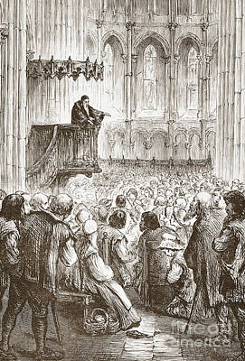French Leaders Drawing - Calvin Preaching His Farewell Sermon In Expectation Of Banishment by English School