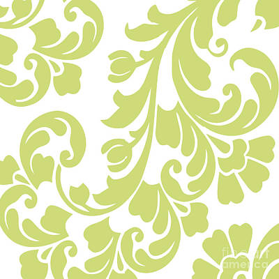 Royalty-Free and Rights-Managed Images - Calyx Chartreuse Damask by Mindy Sommers