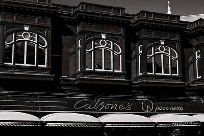 Photograph - Calzone's Pizza Cucina North Beach Bw by Bonnie Follett