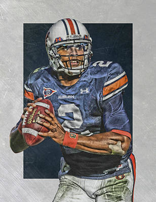 Newton Painting - Cam Newton Auburn Tigers Art by Joe Hamilton