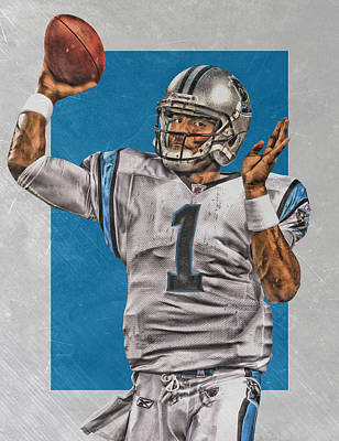 Cam Newton Painting - Cam Newton Carolina Panthers Art 2 by Joe Hamilton