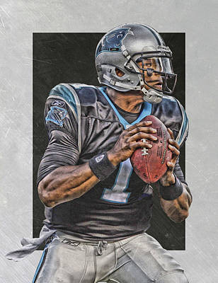 Team Painting - Cam Newton Carolina Panthers Art by Joe Hamilton