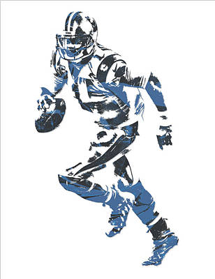 Mixed Media - Cam Newton Carolina Panthers Pixel Art 10 by Joe Hamilton