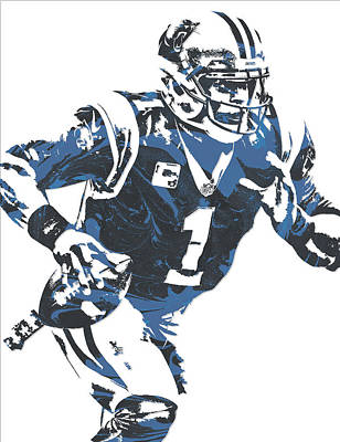 Mixed Media - Cam Newton Carolina Panthers Pixel Art 12 by Joe Hamilton