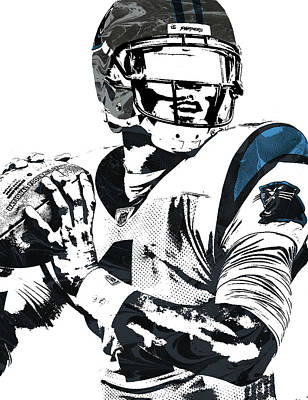 Newton Mixed Media - Cam Newton Carolina Panthers Pixel Art 3 by Joe Hamilton