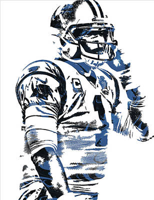 Newton Mixed Media - Cam Newton Carolina Panthers Pixel Art 5 by Joe Hamilton