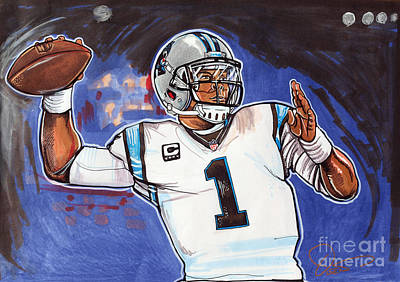 Championship Drawing - Cam Newton by Dave Olsen