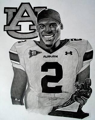 Cam Newton Drawing Art Print