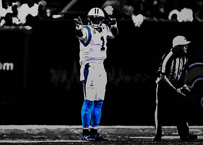Newton Mixed Media - Cam Newton First And Ten by Brian Reaves
