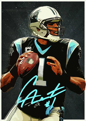 Newton Digital Art - Cam Newton by Semih Yurdabak