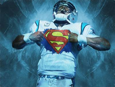 Panther Painting - Cam Newton Superman by Dan Sproul