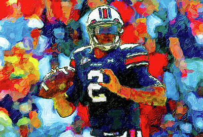 Newton Painting - Cam Newton War Eagle Rises by John Farr