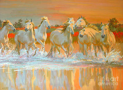 Sundown Painting - Camargue  by William Ireland