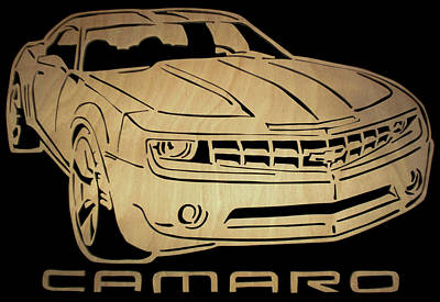 Scroll Saw Digital Art - Camaro - Scrolled by Michael Bergman