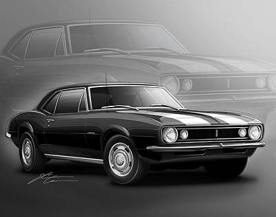 1970 Digital Art - Camaro Z28 1967 by Etienne Carignan