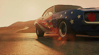 Painting - Camaro Z28 At Willow Springs by Andrea Mazzocchetti