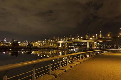 Cambie Bridge In Vancouver Bc At Night Art Print