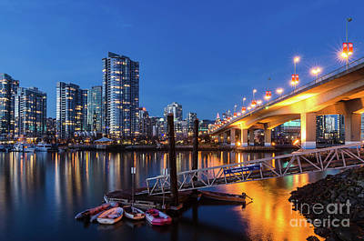 Vancouver At Night Photograph - Cambie Street Bridge Twilight by Victor Andre