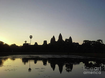 Photograph - Cambodia Angkor Wat Classic Angkor Wat  Silhouette And Reflection At Sunrise by Heather Kirk