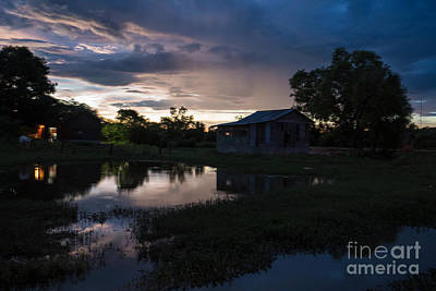 Photograph - Cambodia Countryside Dramatic Sunset by Mike Reid