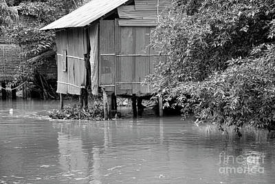Cambodia Shelter Home Bw Art Print by Chuck Kuhn