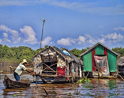Cambodian Fishing Scene Art Print