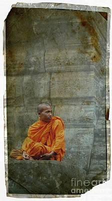 Photograph - Cambodian Monk At Angkor Wat by Louise Fahy