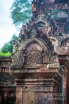 Reliefs Photograph - Cambodian Temple Details Banteay Srey by Mike Reid