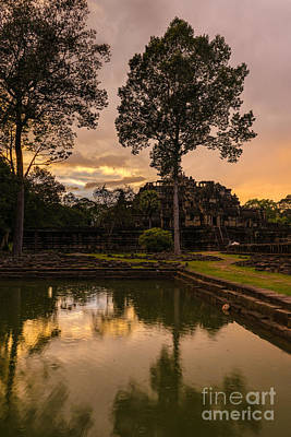Reliefs Photograph - Cambodian Temple Sunset by Mike Reid