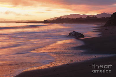 Photograph - Cambria Coastline With Shimmering Sunset Color by Sharon Foelz