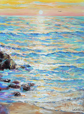 Painting - Cambria Rocks by Linda Olsen