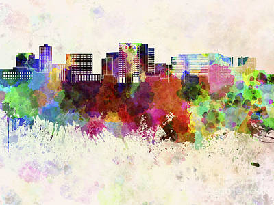 Cambridge Painting - Cambridge Ma Skyline In Watercolor Background by Pablo Romero
