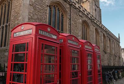 Photograph - Cambridge Phone Boxes by David Warrington