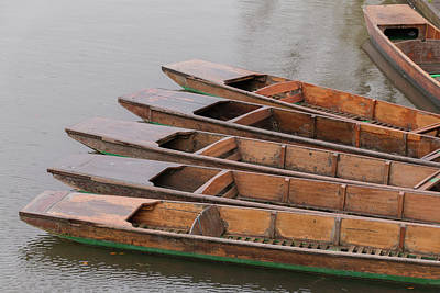 Photograph - Cambridge Punts Chained Up by David Warrington