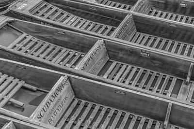 Photograph - Cambridge Punts - Monochrome by David Warrington