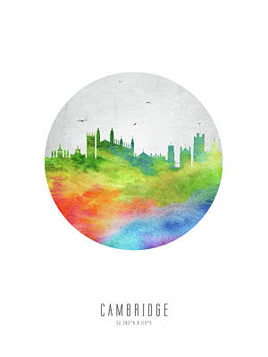 Cambridge Digital Art - Cambridge Skyline Gbcb20 by Aged Pixel