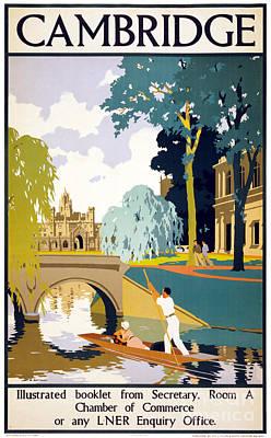 Cambridge Mixed Media - Cambridge Vintage Travel Poster Restored by Carsten Reisinger
