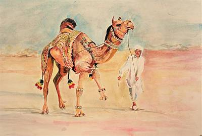 Painting - Camel And The Handler. by Khalid Saeed