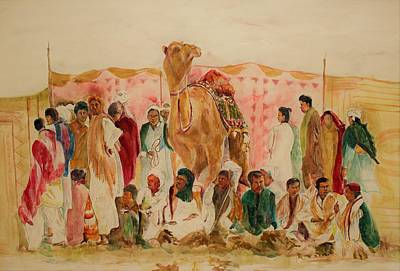 Painting - Camel And The People by Khalid Saeed