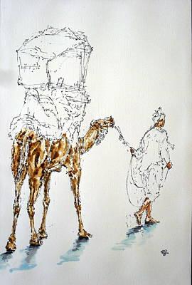 Camel Mixed Media - Camel At Beach by Mohd Raza-ul Karim
