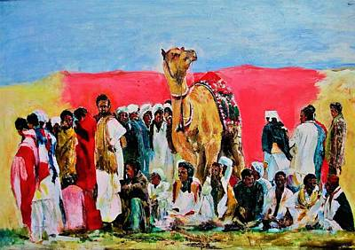Painting - Camel Festival by Khalid Saeed